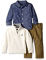 Nautica Baby Boys' Three Piece Set with Woven, Quarter Zip Sweater, Twill Pants