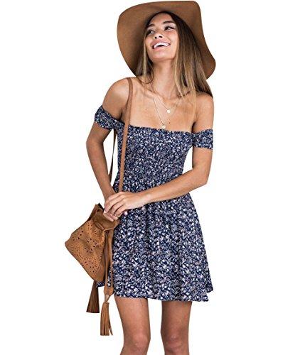 A Mousseline Epaule ligne Cocktail Robe Ete Imprime Robe Mini Courte nu Robe Fleurie Chemise Femme Plage Robes Simple Jolie Casual Ample Fete Droite ISSHE t Boho Tunique Fleuries Courtes Bleu 1RTp7wx1gq
