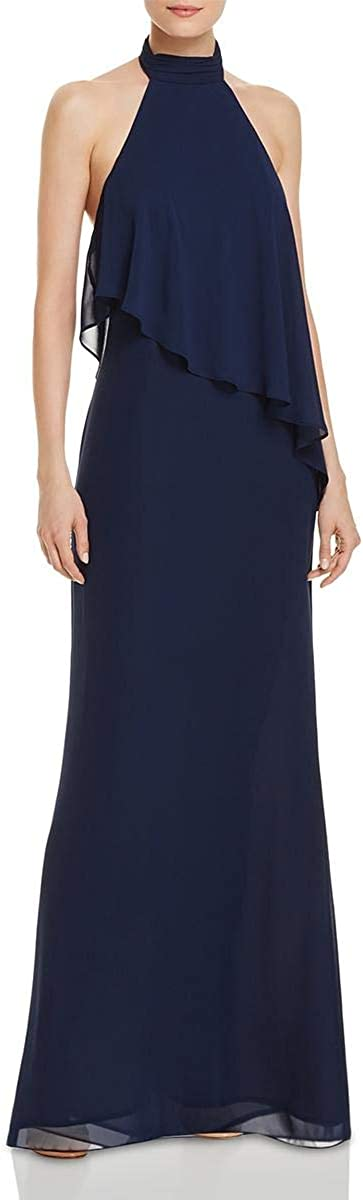 Laundry by Shelli Segal Chiffon Halter Gown, Midnight, 0