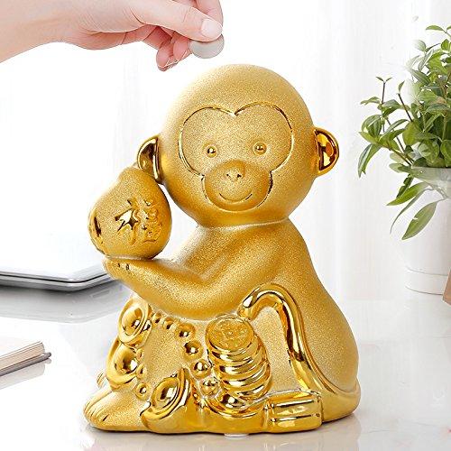 Piggy Bank Ceramic Decoration Monkey Cartoon Gift (Size : S) by XXDP (Image #4)