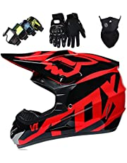 Motocross Helmet Set, Kids Adults Dirt Bike Electric Motorbike Helmets with Goggles Gloves Mask Unisex Full Face Motorcycle Helmet for MTB ATV Off Road - with Fox Design - TGF-01 - Black Red,L