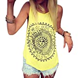 Wugeshangmao Vest for Women Casual, Girls Summer Sleeveless Sexy Sun Printed Blouse Crop Tops Tank Cami Shirt Yellow