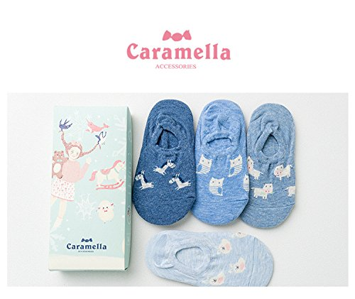 Generic Four pairs of small animal blue cotton dress comfortable and invisible socks four pairs women girls lady socks Gift Box