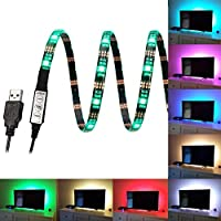 FAS1 RGB LED Strip Mood Lights USB TV Backlight - Adjustable Speed & Brightness - Waterproof 100CM 5V LED Lighting For Televisions, Desktop Computers, Fish Tank, Car Decoration