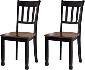 Amazon Com Signature Design By Ashley Owingsville Dining Room Side Chair Set Of 2 Black And Brown Table Chair Sets