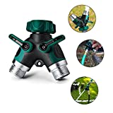 Gesentur Hose Connector, Garden 2 Way Y Hose Splitter with Comfortable Rubberized Grip Fits With Outdoor Faucet Sprinkler Drip Irrigation Systems, Easy To Turn Shut Off Valves