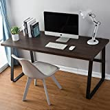 ArtDeco Vintage Computer Desk, Wood and Metal Writing Desk, PC Laptop Home Office Study Table, Espresso 55 inch