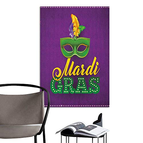 Wall Sticker self-Adhesive Mardi Gras Green Mask with Colorful Feathers on Purple Backdrop Styled Calligraphy Purple Green Yellow Large Removable Decals W24 x H36 ()