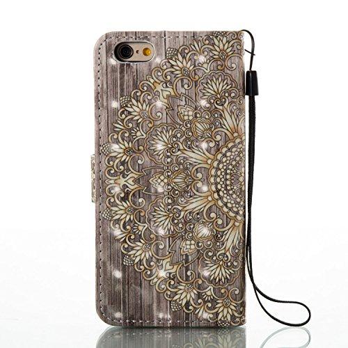 Para Apple iPhone 6s Plus(5.5 Zoll ) funda, (mariposas) pintura 3D caja del teléfono de la PU patrón en relieve ,Función de Soporte Billetera con Tapa para Tarjetas correa de mano soporte para teléfon Flor de oro