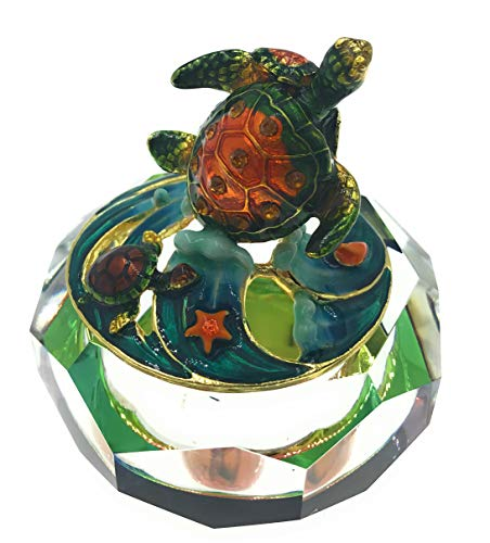 (Welforth Enameled Sea Turtles with Cut Glass Trinket Box, Accented Crystals, 2.875 Inches Diameter  )