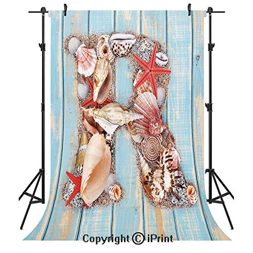 Letter R Photography Backdrops,Tropical Animals in Alphabet Art Ocean Letter R Seashells Starfish Decorative,Birthday Party Seamless Photo Studio Booth Background Banner 5x7ft,Pale Blue Ivory Dark Cor