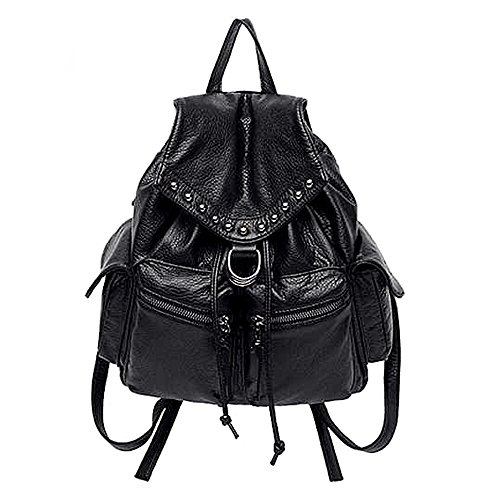 UTO Women Backpack Purse PU Washed Leather Convertible Ladies Rucksack Crossbody Shoulder Bag Black 285-black