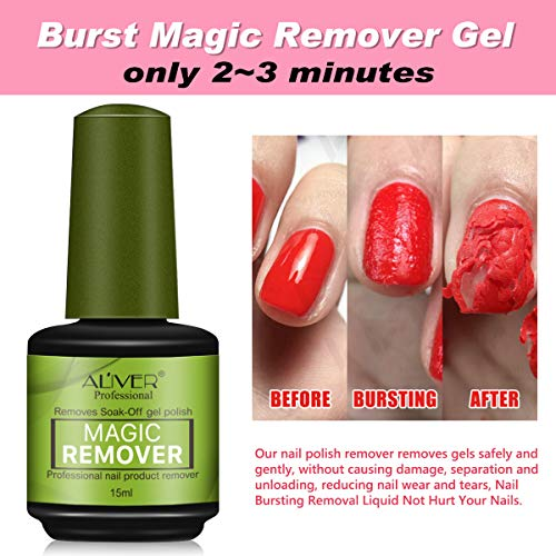 2 Pcs Magic Nail Polish Remover, Removes Soak Off Base Matte Top Coat Gel Nail Polish Healthy Fast Within 2-3 MINS (2 Pcs)