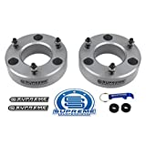 "Supreme Suspensions - Silverado Lift Kit 2.5"" Front Suspension Lift CNC Machined T6 Aircraft Billet Silverado Leveling Kit Strut Spacers (Silver) Easy Install Silverado 1500 Lift Kit PRO"