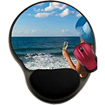 Liili Mousepad wrist protected Mouse Pads/Mat with wrist support design Sexy woman in bikini and hat with glass of wine looking the sea Crete Greece Photo 14903232