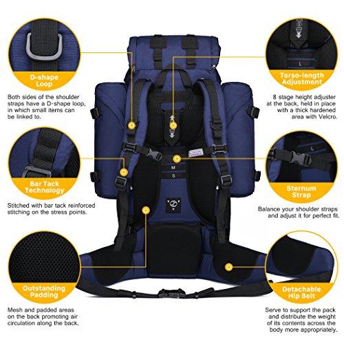 Mardingtop 65 + 10L Mochila de Senderismo Trekking de Gran Capacidad Azur 65+10L