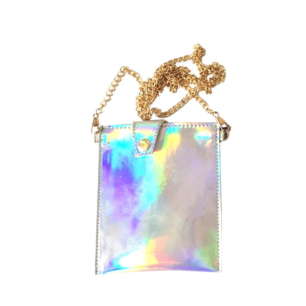LUOEM Mini sac à main hologramme sac à bandoulière à main portefeuille holographique sac portable PU, avec chaîne taille L 0181144IUV9S5476