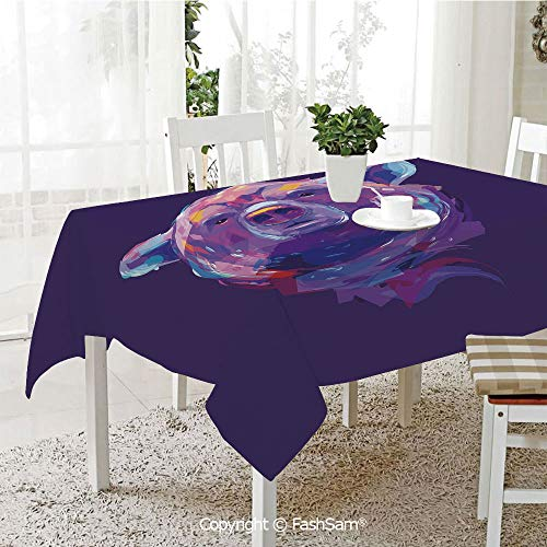 (FashSam 3D Print Table Cloths Cover Abstract Portrait with Digital Brushstrokes Wildlife Mascot Artistic Display Decorative Waterproof Stain Resistant Table Toppers(W60)