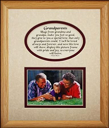 8x10 GRANDPARENTS Picture Poetry Photo Gift Frame Cream Burgundy Mat Heartfelt Keepsake