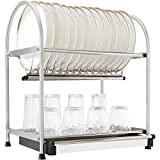 WiseLife Dish Rack Stainless Steel 2-Tier Draining Rack Rustless Storage Rack Kitchen Supplies Drying Frame
