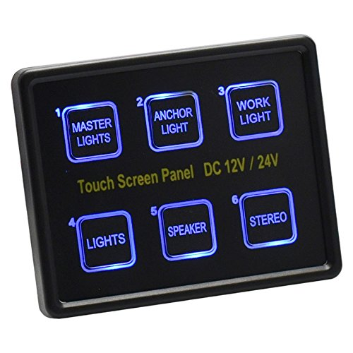 Cllena 12V/24V DC 6 Gang LED Switch Panel Slim Touch Control Panel Box for Car Marine Boat Truck Rv Caravan