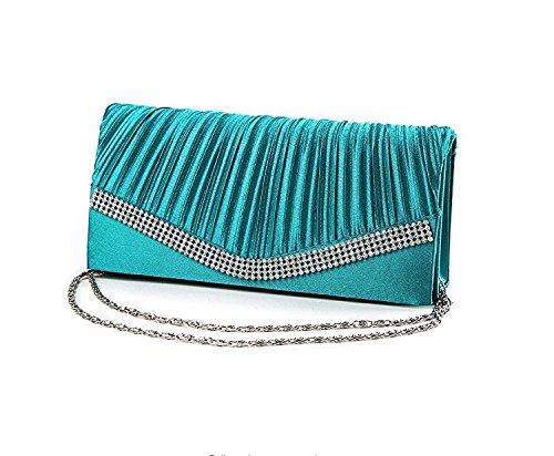 lake blue Rhinestone Evening Clutch Satin Elegant Chain for Ladies Kelaina Bag Handbag w Shoulder Sx7SO
