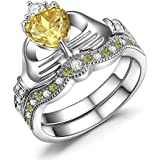 Women Fashion 925 Silver Ruby Citrine Sapphire Claddagh Bridal Wedding Ring Set (8)