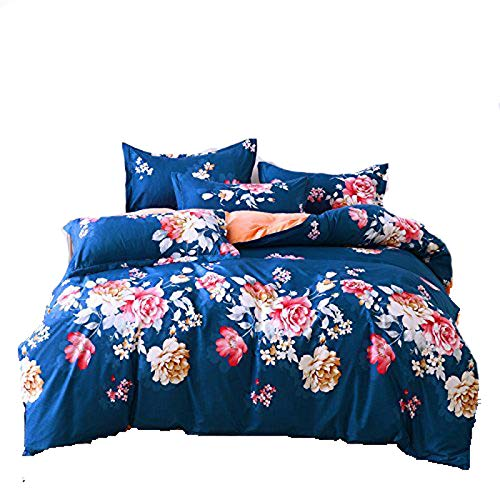 KFZ 4pcs Bedding Set Duvet Cover Set Without Comforter Flat Sheet Pillowcases Twin Full Queen Peony Flower Design (Twin, Peony, ()