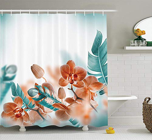 (SPXUBZ Tropical Set Tropical Orchids Blossom Leaves on Blurred Background Floral Themed Modern Art Orange Teal Shower Curtain Waterproof Bathroom Decor Polyester Fabric Curtain Sets with Hooks)