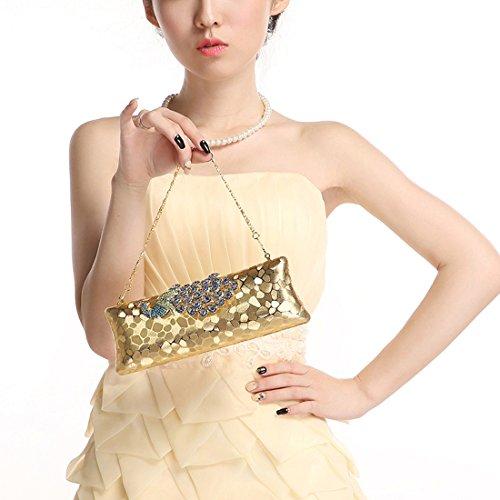 HT Evening Bag - Cartera de mano para mujer dorado