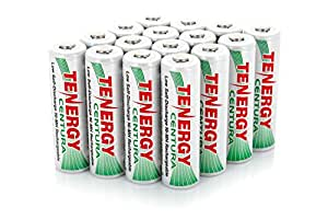 4 Cards: 16 pcs Tenergy Centura AA Size 2000mAh Low Self Discharge NiMH Rechargeable Batteries