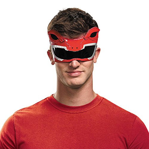 Disguise Men's Red Ranger Adult 1/4 Mask Costume Accessory, Red, One -