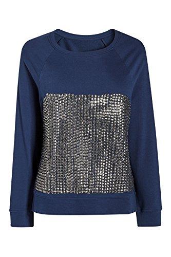 next Mujer Top Sudadera Camiseta Manga Larga Cuello Redondo De Algodón Adorno De Tachuelas Azul