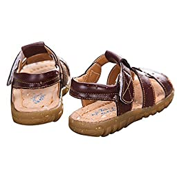 Taiycyxgan Boy\'s Velcro Leather Sandals Waterproof Beach Shoes(Baby Toddler/Little Kid) Brown 23