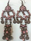 Vintage Style Princess Jasmine Earrings Bronze Pink 3""