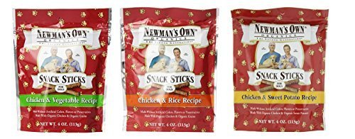 Newman's Own Organic Snack Sticks Dog Treats 3 Flavor Variety Bundle: (1) Newman's Own Chicken & Sweet Potato Recipe - (1) Newman's Own Chicken & Rice Recipe - and (1) Newman's Own Chicken & Vegetable Recipe - 4 Oz. Ea. (3 Bags Total)
