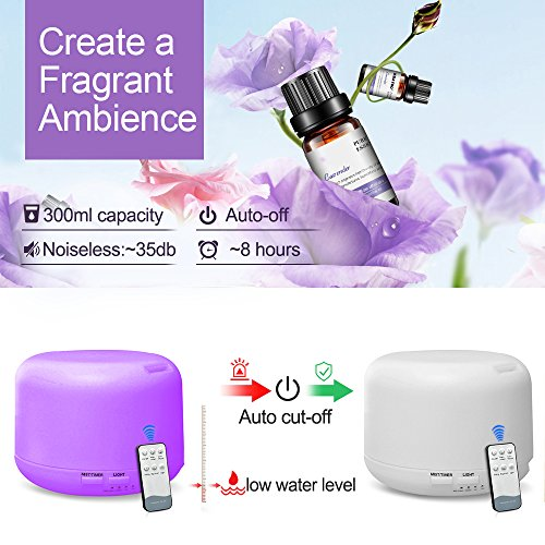 Generial 300ml Humidifier, No Water Power Off, Ultrasonic Mute, Remote Control/Colorful Humidifier, Suitable for Bedroom, Office, SPA, Yoga, Baby Room by Generial (Image #3)