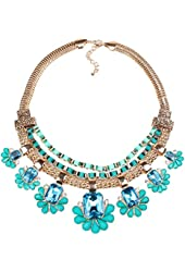 Lake Blue Rectangle Crystal Charm Graduated Flower Bib Vintage Style Necklace