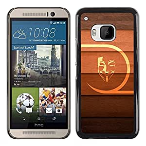 MOBMART Carcasa Funda Case Cover Armor Shell PARA HTC One M9 - Printed Mask On A Wood Colored Design
