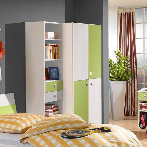 Jugendzimmer in Weiß/Apfel, 2-trg. Schrank, Regalelement, Bett ...