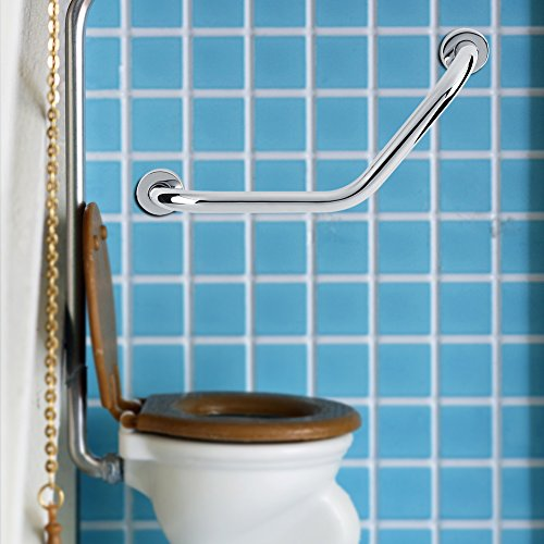 Bathroom Grab Bar, Stainless Steel Arm Safety Handle with Curved Safe-Grip Shower Grab Bar for the Elderly in the Bathroom by Zerone (Image #1)