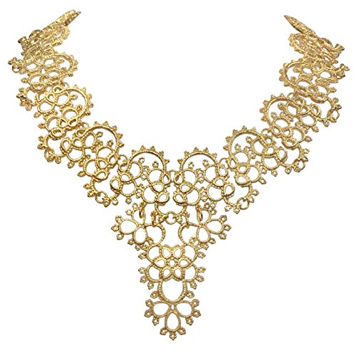 Sweet Filigree Lace Look Boutique Statement Necklace - Assorted colors (Gold Tone) (Tone Purple Gold Necklace)