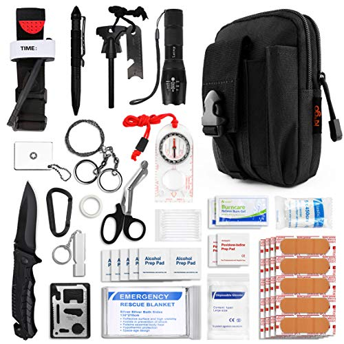 Kitgo Emergency Survival Gear and Medical First Aid Kit - IFAK Outdoor Adventure Camping Hiking Military Essential - Pro Compass, Fire Starter, CAT Tourniquet, Flashlight and More (Black)