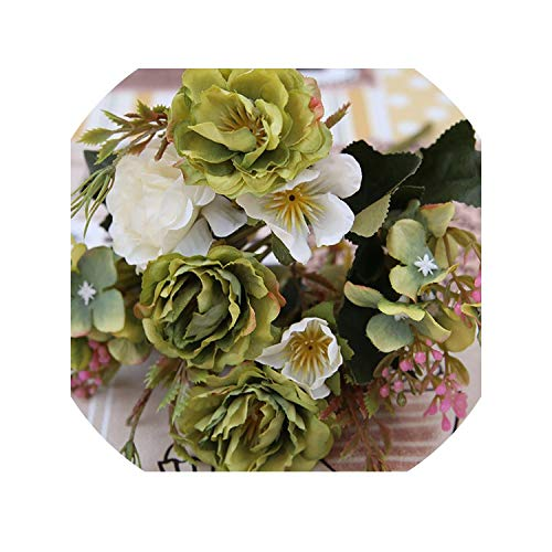 Party Decoration Vintage Silk Artificial Flowers Small Rose Wedding Fake Flowers Festival Supplies Home Decor Bouquet,Gray]()