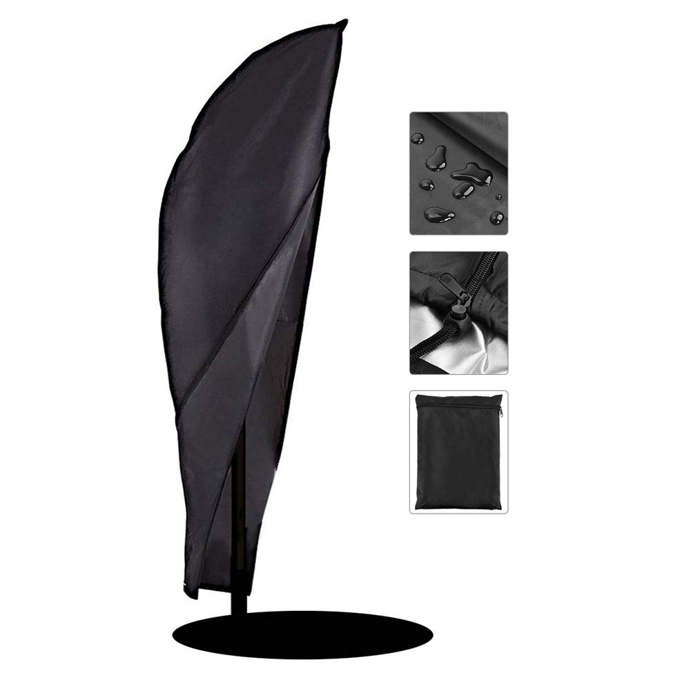 Heavy Duty Parasol Covers, Outdoor Patio Cantilever Offset Umbrella Protective Cover, Waterproof Dustproof (Black) (Size : 265x100cm/104''x39'')