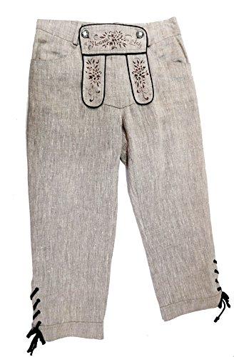 Country Line Damen Leinenhose Trachtenhose 3/4 beige mit Stickerei und Latz Gr.36