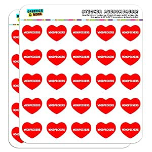 """Graphics and More I Love Heart Woodpeckers Planner Calendar Scrapbooking Crafting Stickers - 50 1"""" Clear Stickers"""