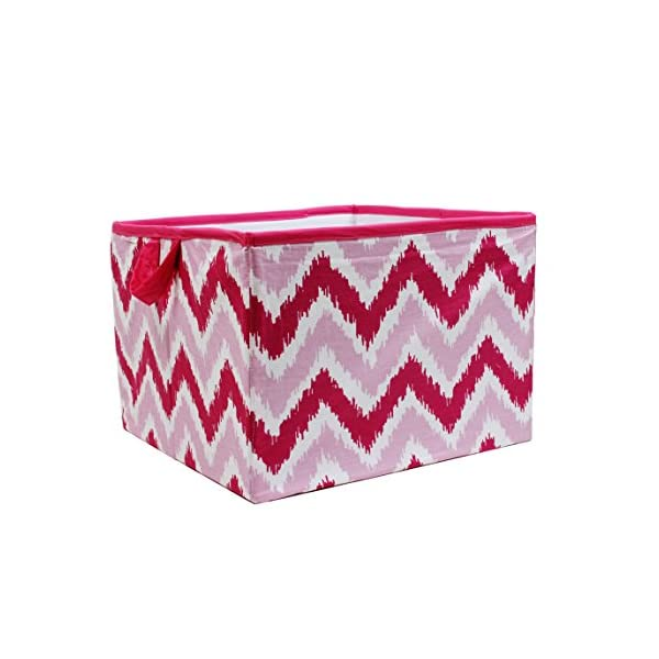 Bacati – Mixnmatch Ikat Chevron Pink Baby/Toddler Collection (Large Tote: 14″ L x 14″ W x 10″ H)