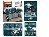 The Northwest Company NFL Philadelphia Eagles Twin Bedding Set - Includes 1 Twin Comforter, 1 Twin Flat Sheet, 1 Twin Fitted Sheet, 1 Pillowcase, 1 Blanket, 1 Throw, and 1 Rug