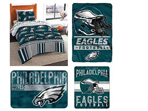 The Northwest Company NFL Philadelphia Eagles Twin Bedding Set - Includes 1 Twin Comforter, 1 Twin Flat Sheet, 1 Twin Fitted Sheet, 1 Pillowcase, 1 Blanket, 1 Throw, and 1 Rug -